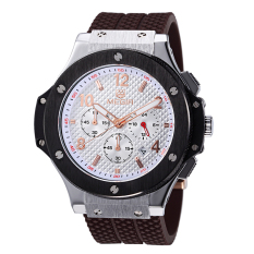 Megir Chronograph 24 Hours Function Waterproof Men's Sport Watch Silicone Luxury Watch Men Brand Army Watch (Brown&White) (Intl)