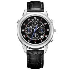 Megir Fashion Men Genuine Leather Strap Watch Male Casual Business Wristwatch (Silver) (Intl)