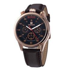 MEGIR Genuine Six Eye Three Pin Three Genuine Leather Men's Casual Watch-Brown Gold Black (Intl)