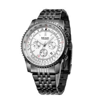 MEGIR Jam Tangan Pria Fashion Quartz Wristwatch Luxurious Business Waterproof MS 2008 G/BK-7 - Black White