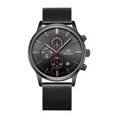 MEGIR Jam Tangan Pria Stainless Steel Mesh Watchband Business Wristwatch Quartz Calendar and Sub-dial MS 2011 G/BK-1 - Black