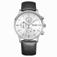 Megir Luminous Hands Multi-function Chronograph Real Three Black Dials Men Watch (Black&White) (Intl)