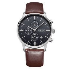 Megir Luminous Hands Multi-function Chronograph Real Three Black Dials Men Watch (Brown&Black) (Intl)