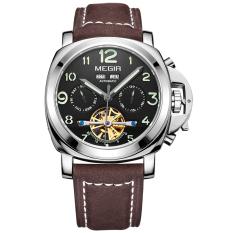 Megir Luminous Mechanical Watch Men Genuine Nubuck Leather Strap Waterproof Wristwatch (Brown&Black)