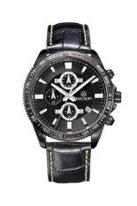 Megir Men's Leather Waterproof Business Calendar Fluorescence Watch (Black)