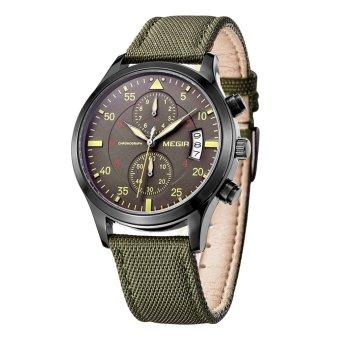 MEGIR merek gaya militer orang bisnis jam tangan tahan air gaun kasual pria perhiasan dengan tanggal otomatis 2 sub dial