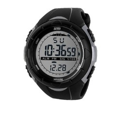 Men Beach Sports Military Watches LED Electronic Digital Watch 5ATM Waterproof Outdoor Dress Students Jelly Wrist Watch Titanium Color (Intl)
