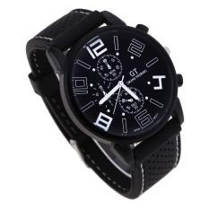 Men Black Silicone Luxury Sport Quartz Wrist Watch White (Intl)