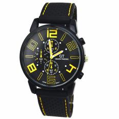 Men Fashion Motion Racing Form Sport Quartz Hour Wrist Analog Watch Yellow