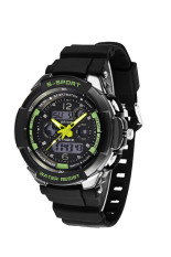 Men LED Analog Digital Alarm Date Waterproof Sport Watch Wristwatch Backlight Wrist Watch Green