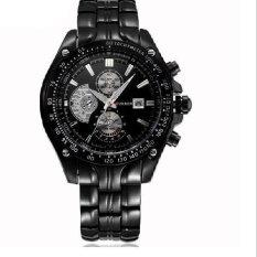 Men Luxury Fashion Business Three Eyes Quartz Watch Men Sport Stainless Steel Watches Leather Strap Wrist Watch Black&black (Intl)