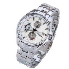 Men Luxury Fashion Business Three Eyes Quartz Watch Men Sport Stainless Steel Watches Leather Strap Wrist Watch Silver&white (Intl)
