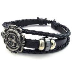 Men Women Leather Bracelet Fleur De Lis Charm Bangle Fit 7-9 Inch Black