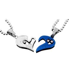 Men Women Lover Couple Necklace I Love You Heart Shape Pendant Chain Jewel White