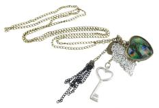 Mengyanni Vintage Tassel Peacock Feather Heart Key Leaf Necklace Pendant