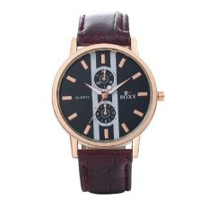 Men's Business PU Band Automatic Electric Wrist Watch Fashion Stainless Steel Metal Casual Round Dial (Intl)