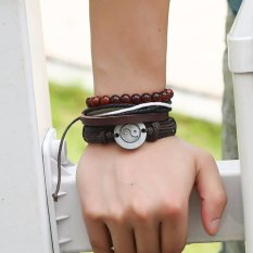 Men's Fashion Accessories Retro Style Leather Bracelet Jewelry (TZ016) - intl