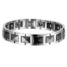 Men's Jewelry Black Silver Faceted Ceramic Magnetic Bracelet - Gelang Pria - Gelang Kesehatan - 18cm - S