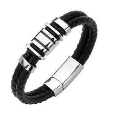 Men's Jewelry Parker Genuine Leather Men Bracelet Titanium Steel - Gelang Pria - Kulit - Hitam - 21CM - L