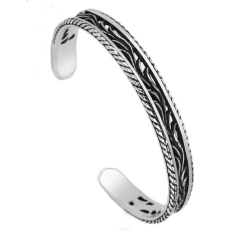 Men's Jewelry Retro Bangle Cuff Bracelet Titanium Steel - Gelang Pria - S
