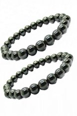 Men's Jewelry Set Of 2 Black Sphere 5mm Brazilian Style Magnetic Therapy Bracelet - Gelang Kesehatan - Hitam
