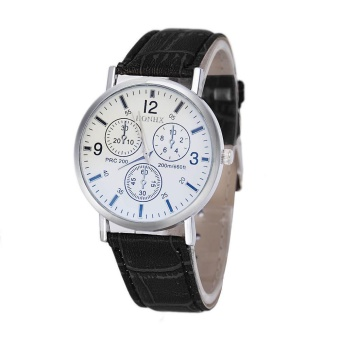Mens Luxury Crocodile Faux Leather Analog high-end Business Wrist Watch BK - intl
