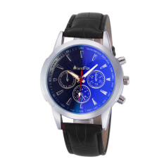 Mens Luxury Fashion Crocodile Faux Leather Analog Watch Watches Black (Intl)