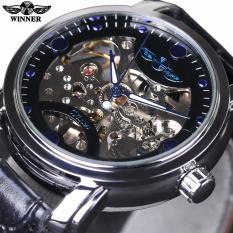 Mens Top Brand Luxury Automatic Black Skeleton Designer Blue Engraving Clock Men Leather Strap Montre Homme Watch