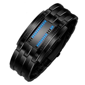 Men's Waterproof Stainless Steel Digital Bracelet Watch Black