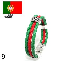 Mens Womens Leather Bracelet World Cup FIFA Soccer Fans National Flag Colorful Portugal - Intl