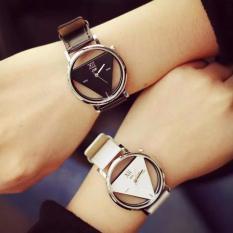 Men's Women's Pasangan Quartz Watches Segitiga Couple Triangle Quartz Watches Black White