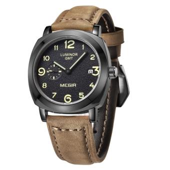 Militer mode MEGIR kuarsa perhiasan pria kulit kasual bisnis tahan air bercahaya sejalan jam tangan (Coklat & Hitam)