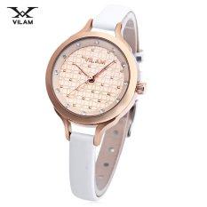 MiniCar VILAM V1017L - 01H Female Quartz Watch Artificial Diamond Dial 3ATM Slender Leather Band Wristwatch #8 (Color:#8) - Intl