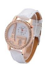 Minimalism Design Transparent Analog Leather Belt Quartz Watch Wristwatch Hollow Dress Watch (Black) (Intl)