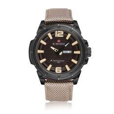 Miyifushi New NAVIFORCE 9066 Men's Fashion Watches, Waterproof Calendar Week Nylon Belt Quartz Watch (Gray)