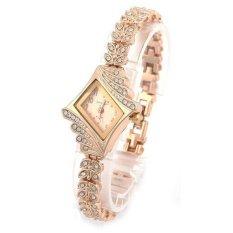 Model Gelang Wanita Terbuat Dari Kristal Gelang Jam Tangan Rhombus Kuarsa (Emas)