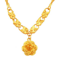 MoNo 24K Gold Plated Fine Flower Shaped Pendant Necklace (Gold) - Intl