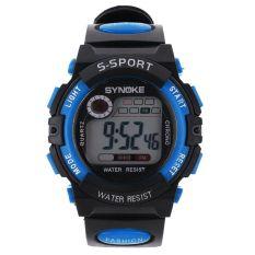 Multifungsi Digital elektronik LCD tahan air jam tangan sport untuk anak laki-laki-biru - International