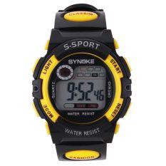 Multifungsi Digital elektronik LCD tahan air jam tangan sport untuk anak laki-laki-kuning - International