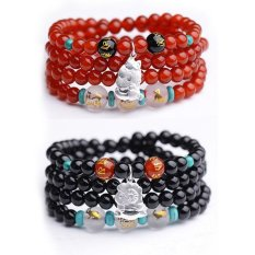 Natural Red Agate Beads Bracelet Triple Mascot Zodiac Circle 925 Silver Jewelry Bracelets Men and Women - Is A Rabbit (Red Agate) (Intl)