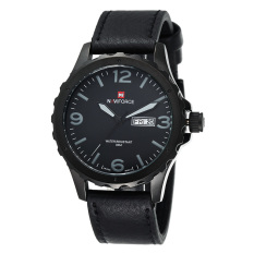 NAVIFORCE Date Week Genuine Leather Strap Sports Men Waterproof Army Military Men's Quartz Watch Grey (Intl)