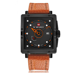 NAVIFORCE Eye-catching Fashion Square Dial Analog Wristwatch With Box Water Resistant Casual Quartz Men Watch With Calendar - Intl