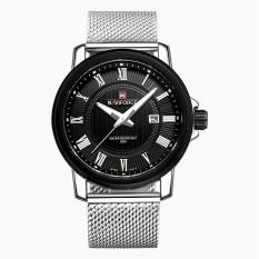 GETEK Luxury Brand Naviforce Full Reticular Steel Quartz Digital Led Military Soldiers Sports Watching Men's Watches (Black / Silver)