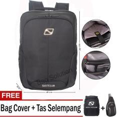 Navy Club Tas Ransel Laptop Tahan Air 5886 Backpack Up to 15 inch - Hitam (Free Bag Cover + Free Tas Selempang)