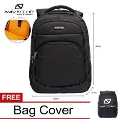 Navy Club Tas Ransel Laptop Tahan Air 8296 Backpack Up To 15 Inch Bonus Bag Cover - Hitam