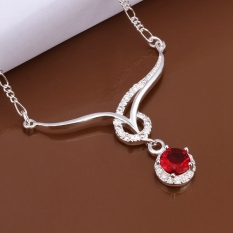 Necklace Silver Plated Necklace Silver Plated 18 Inches Chain Pendant Necklaces Red Crystal Jewelry Christmas Valentine's Day Gifts - Intl