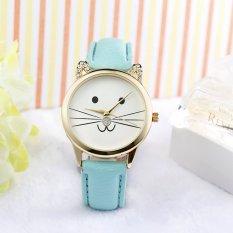 Neutral Diamond Lovely Cats Face Faux Leather Quartz Watch Blue (Intl)