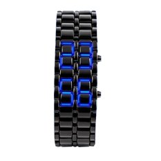NEW ARRIVAL ! Black Digital LED Blue Wrist Watch Iron Metal Samurai Mens Watch