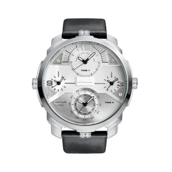 New Arrival HP3749 Men's Originality Big Dial Design Multiple Time Zones Watch(white)