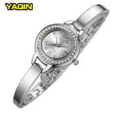New Brand YAQIN Clock Female Fashion Small Pendant Watch Harp Watch Bracelet Watches Ladies (Silver) - Intl